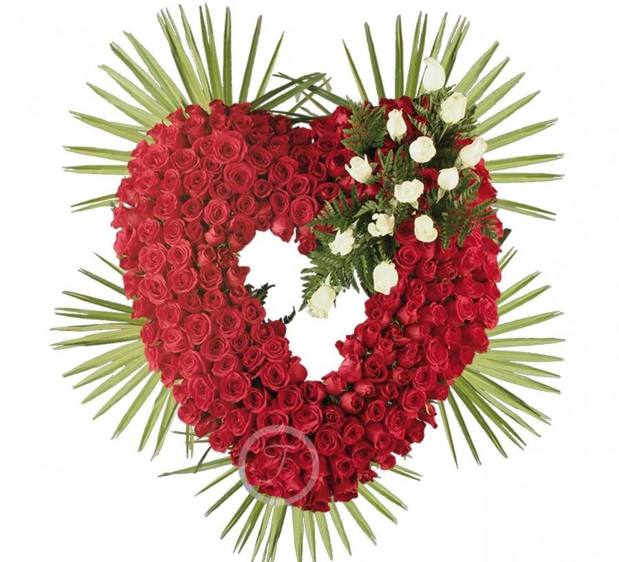 Corona Funeraria Corazón de Rosas Rojas