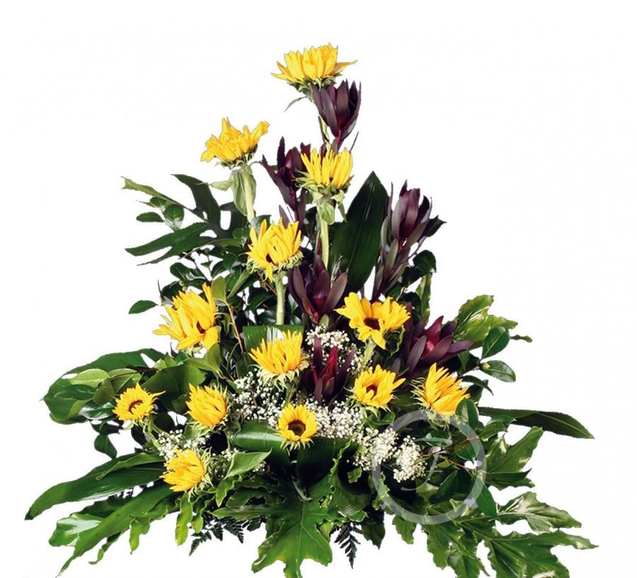 Centro Floral Funerario con Girasoles