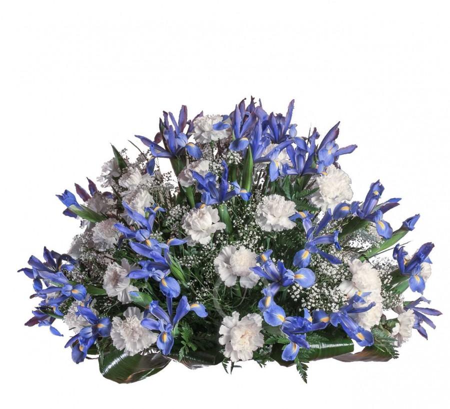 Centro Floral Fúnebre con Iris Azules...