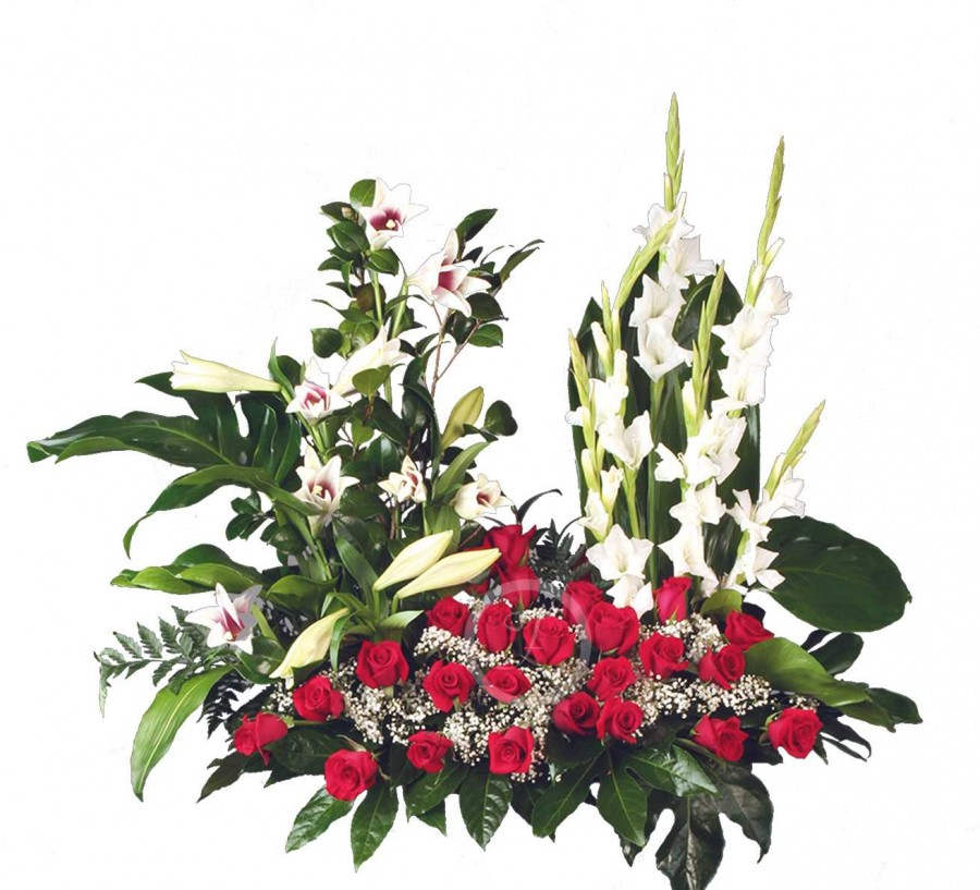 Centro Floral Fúnebre con Rosas Rojas