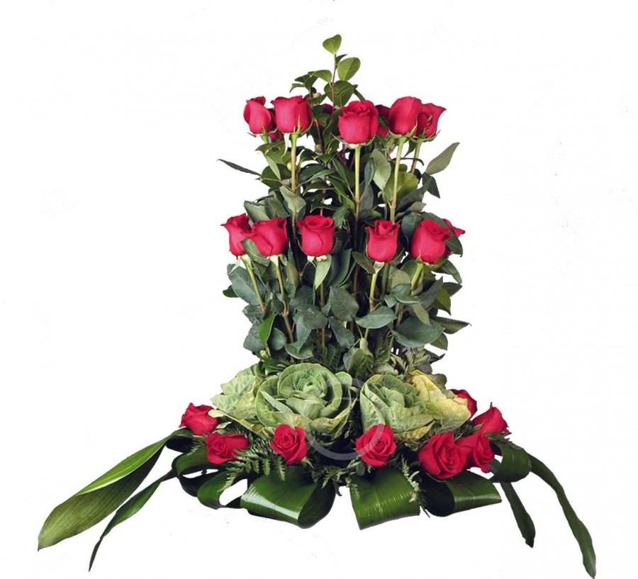 Centro Floral Fúnebre de Rosas Rojas