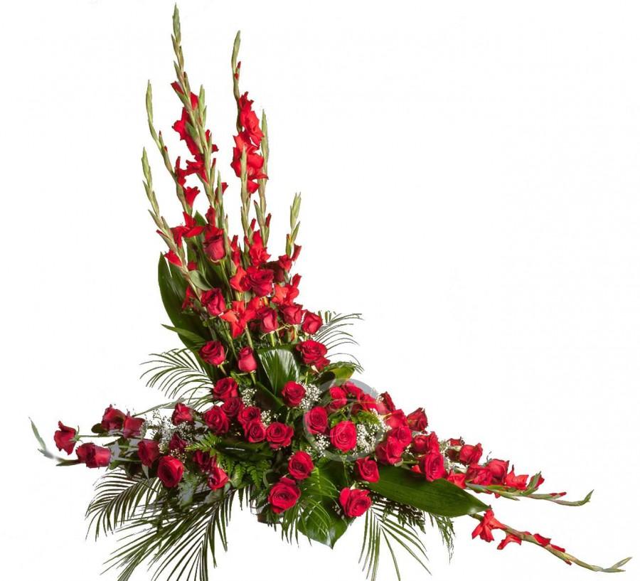 Centro Floral Fúnebre con Flores Rojas