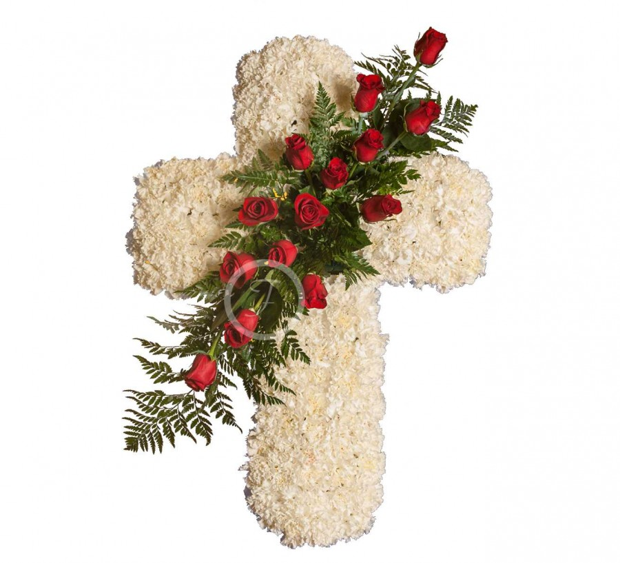 Cruz Funeraria de Claveles Blancos
