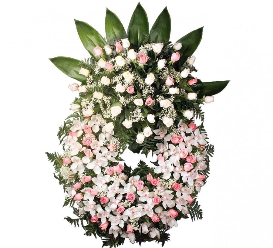 Corona Funeraria de Orquídeas y Rosas