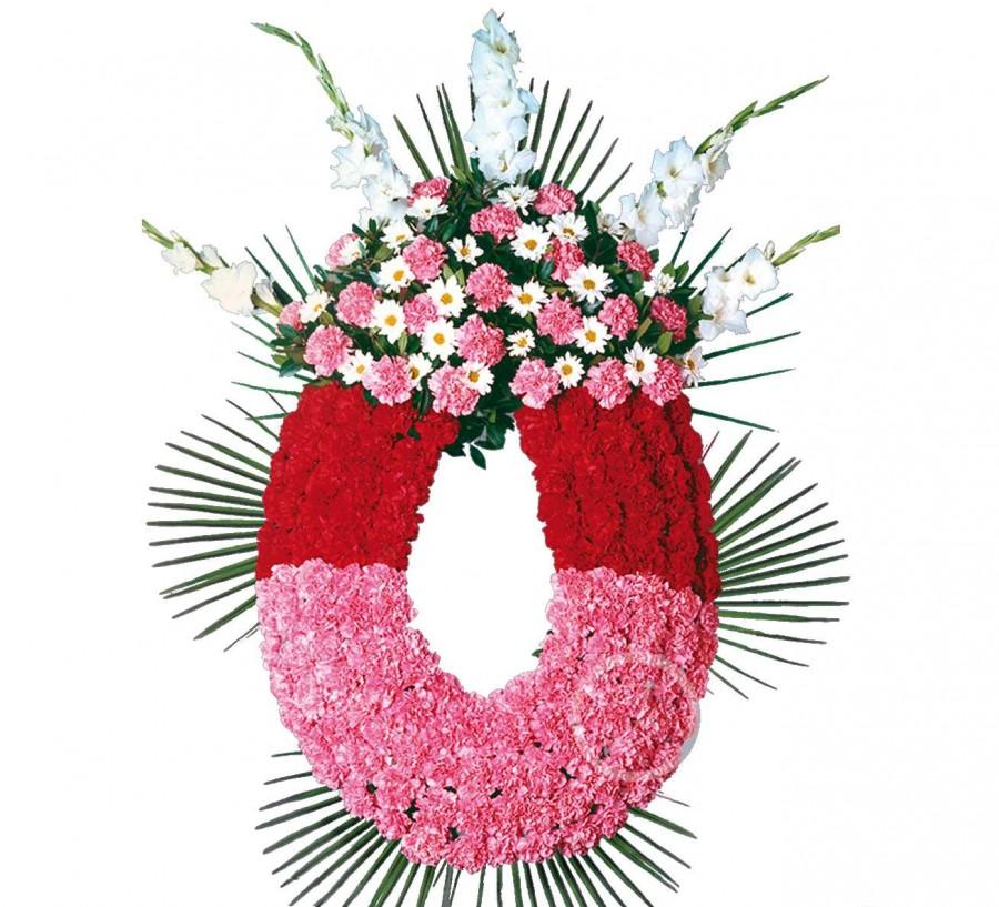 Corona Funeraria de Claveles Rosa y...
