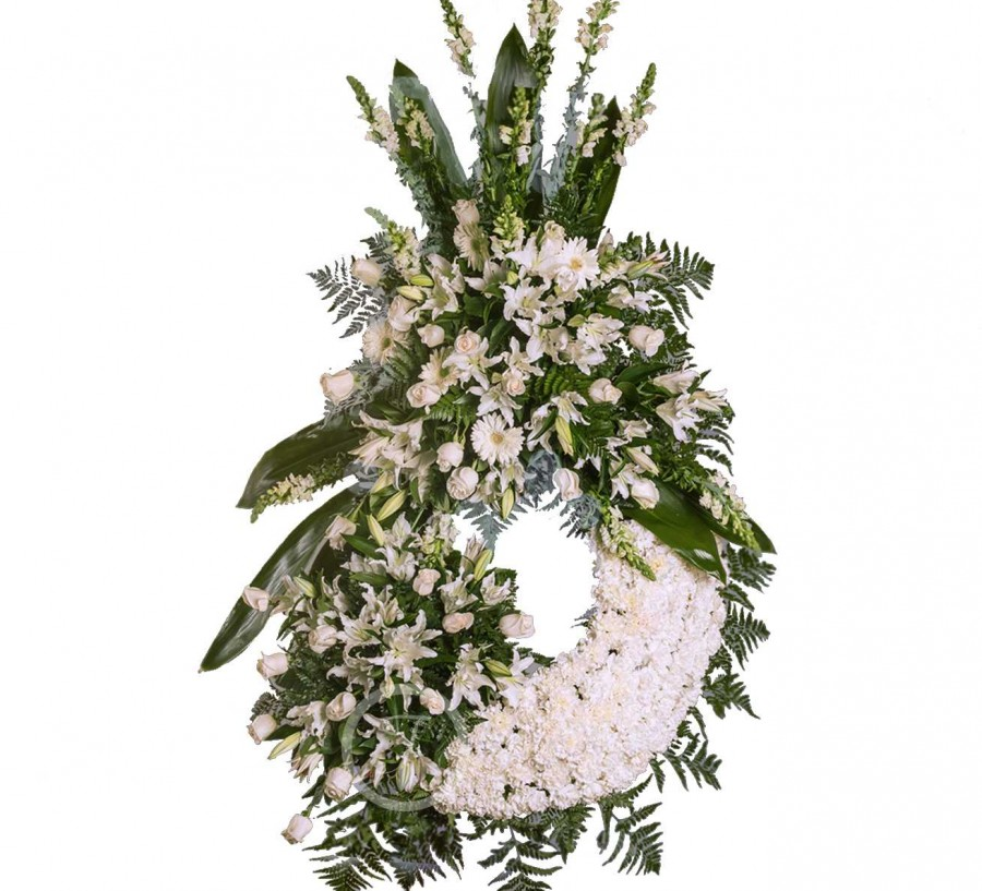 Corona Fúnebre con Claveles Blancos