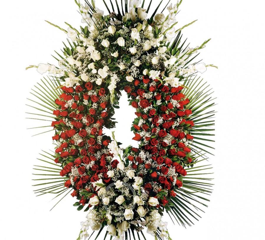 Corona Funeraria de Rosas Blancas y...