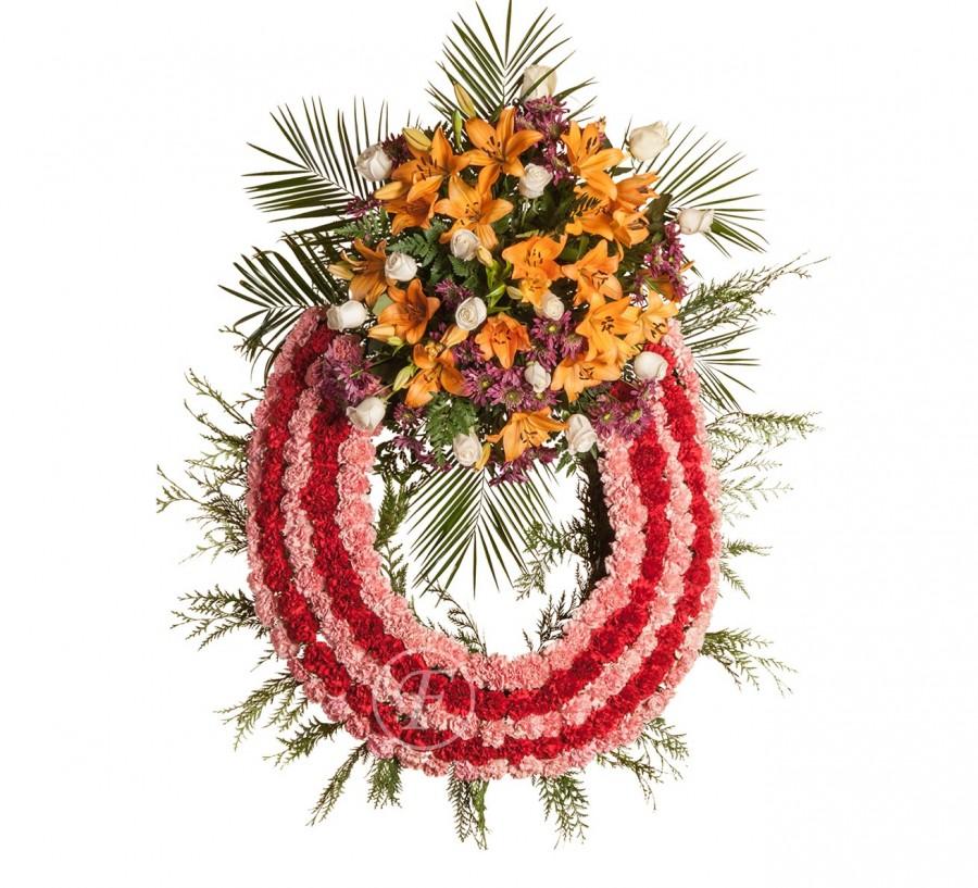 Corona Funeraria de Claveles Rojos y...
