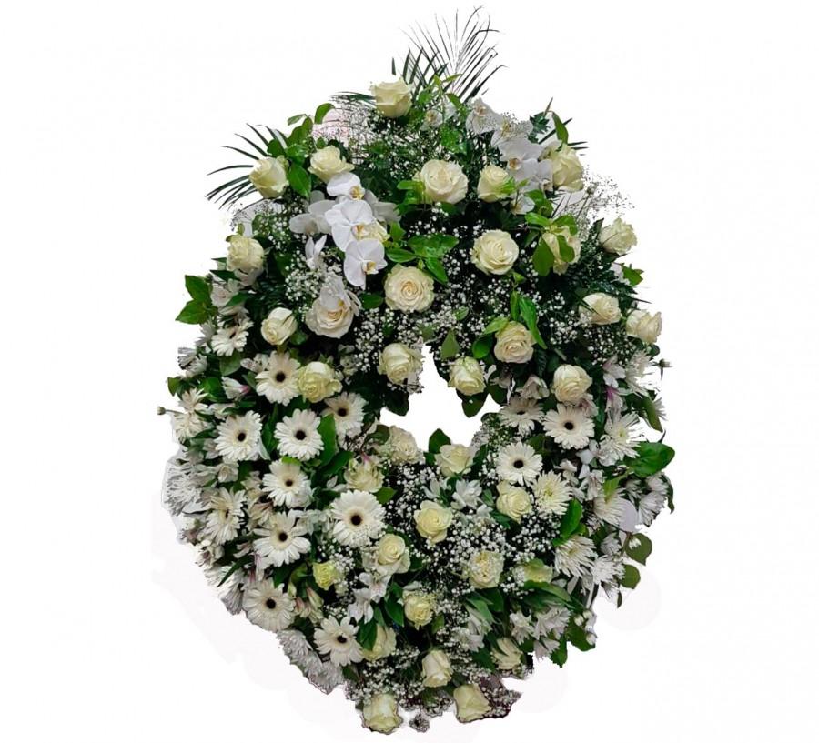 Corona Funeraria con Rosas, Orquídeas...