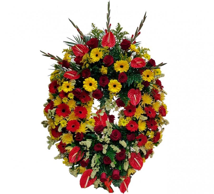 Corona Fúnebre con Flores Variadas