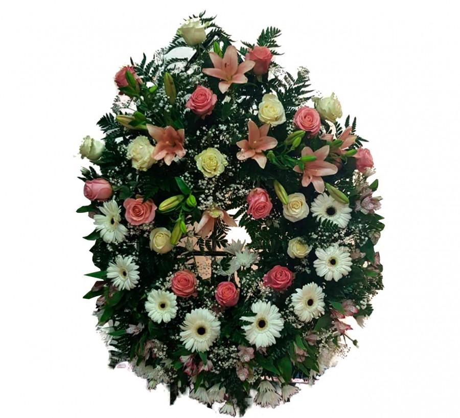 Corona Funeraria Blanca y Rosa
