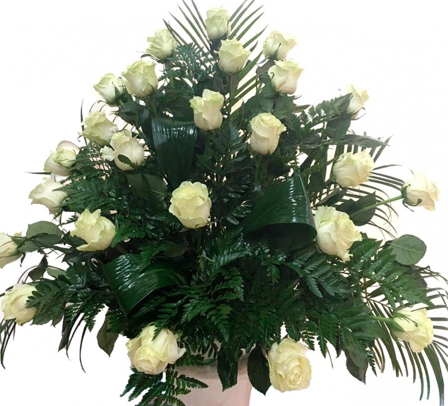 Centro Floral Funerario de Rosas Blancas