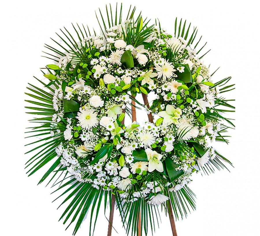 Corona fúnebre Blanca con Lilium